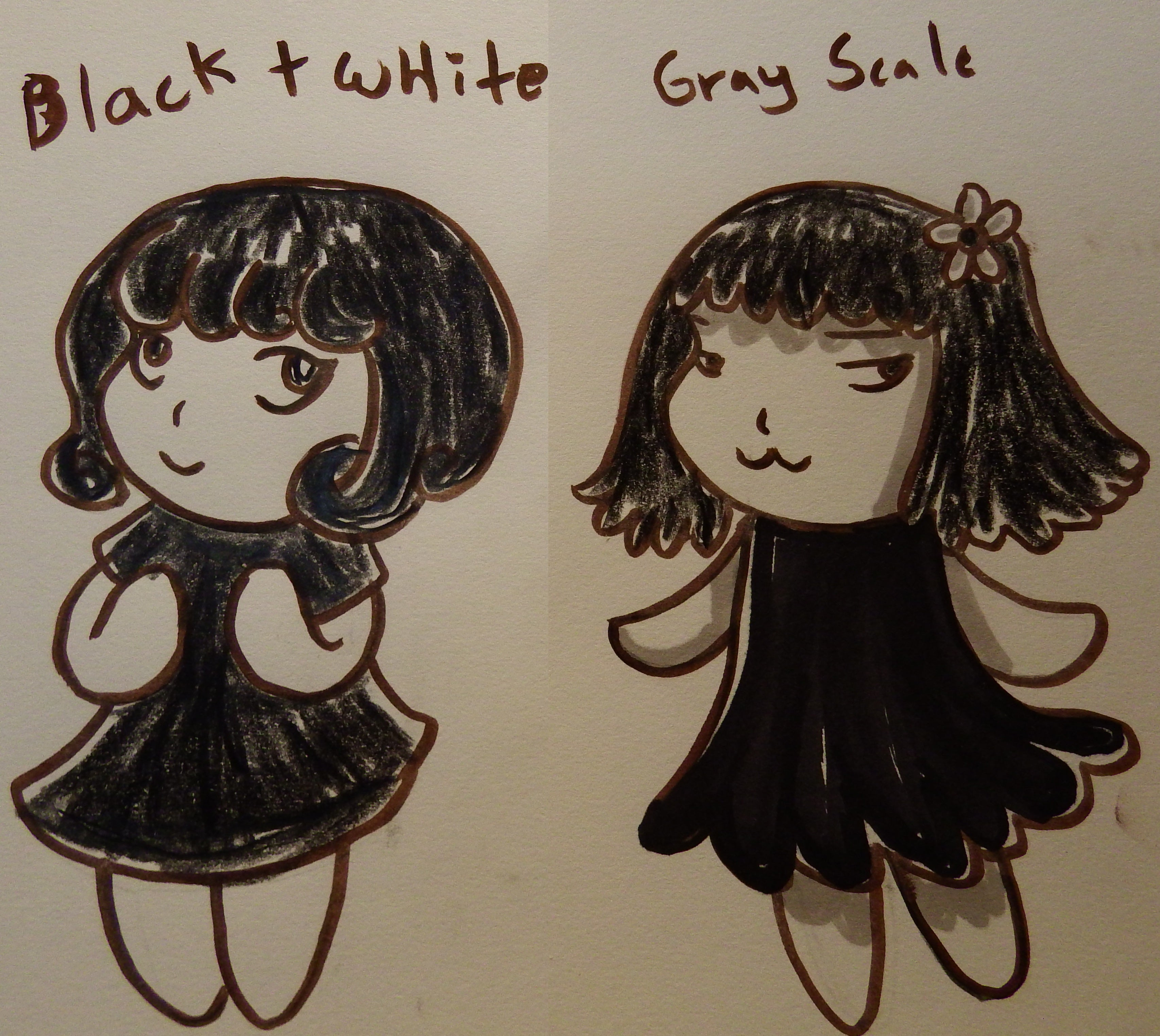color theory, black and white vs grayscale, artsy sister