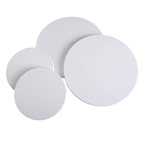 IVON Round Canvas, 4pcs Professional Stretched Circle Canvas Board for Painting, Acrylic Pouring - 12'' & 8''