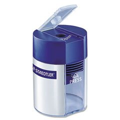 Staedtler Handheld Manual Single-Hole Cylinder Pencil Sharpener, Blue/Silver (STD511001A6)