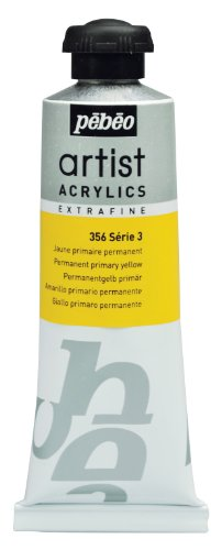 Pébéo Extra Fine Artist Acrylic Art Paint, Permanent Primary Yellow, 60ml