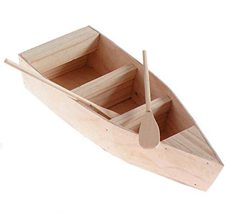 Darice 9154-94 Unfinished Natural Wood Craft Project Wood Boat with Oars