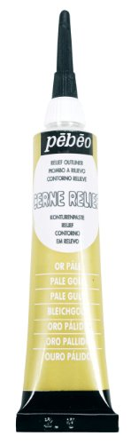 Pebeo Vitrail Stained Glass Effect Cerne Relief 20-Milliliter Tube with Nozzle , Pale Gold