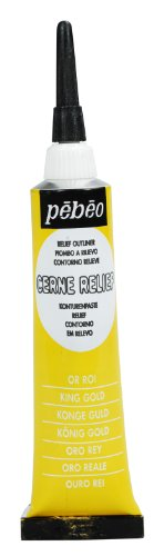 Pebeo Vitrail Stained Glass Effect Cerne Relief 20-Milliliter Tube with Nozzle , King Gold