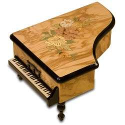 Grand Piano Floral on Olive Wood Musical Jewelry Box 39624 - NEW!
