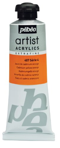 Pébéo Extra Fine Artist Acrylic Art Paint, Orange Cadmium Yellow, 60ml
