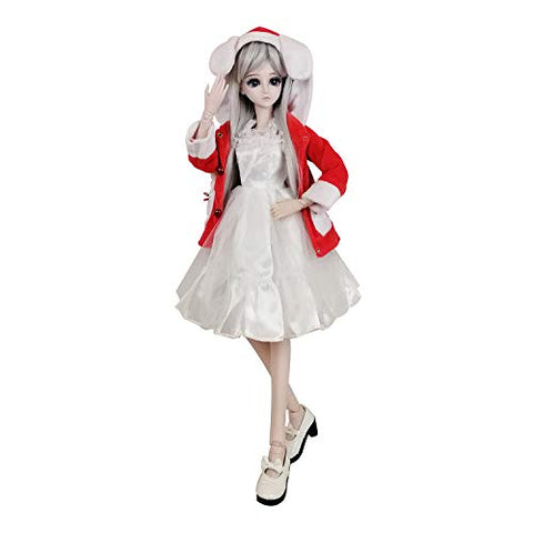 "EVA BJD 1/3 SD Doll 24"" Ball Jointed Gift BJD Doll +Makeup +Full Set School Uniform Girls (Gray Hair)"