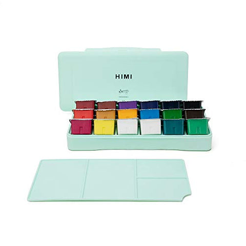 MIYA HIMI Gouache Paint Set 18 Colors (30ml/Pc) Paint Set Unique Jelly Cup Design Non Toxic Paints for Artist, Hobby Painters & Kids, Ideal for Canvas Painting for Novelty Gift (Green)