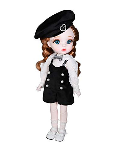 Fortune Days 1/6 BJD Doll, 12 Inch 28 Ball Jointed Hair Transplant Doll with Full Set Clothes Shoes, Best Gift for Girls (Zhenzhu)