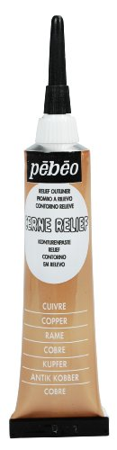 Pebeo Vitrail Stained Glass Effect Cerne Relief 20-Milliliter Tube with Nozzle , Copper