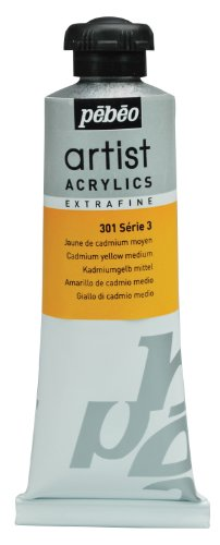 Pébéo Extra Fine Artist Acrylic Art Paint, Medium Cadmium Yellow, 60ml