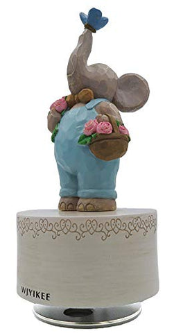 WJYIKEE Music Box Sculpted Hand-Painted Musical Figure Warm and Romantic Birthday Festival Musical Gift Home Office Studio Decoration (Elephant)