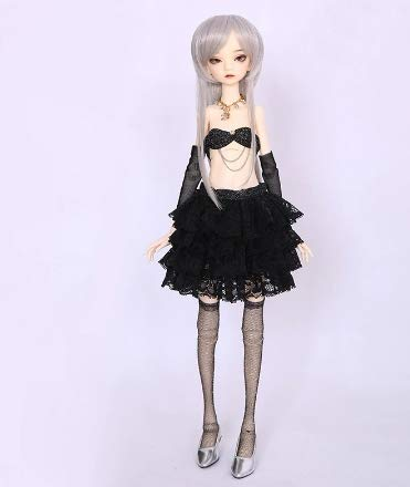 Black Dress Skirt Top Sock Cloth for 1/4 BJD 45 cm Doll