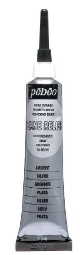 Pebeo Vitrail Stained Glass Effect Cerne Relief 20-Milliliter Tube with Nozzle , Silver
