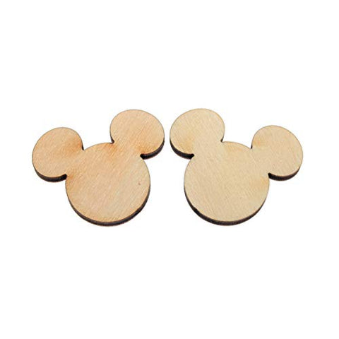 "yuhoshop Wooden Mickey Mouse Head 10pcs 1.5"" (Wide Ear to Ear) X 1/8"" inch Plain Unfinished Wood Cutouts for Embellishment,DIY Wedding Guestbook Sign"