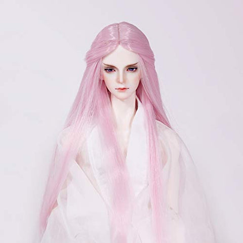 HMANE BJD Doll Wig, Centre Parting Long Srtaight Hair Wig for 1/3 BJD Dolls - (Taro Pink) (No Doll)
