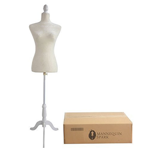 Bonnlo Female Dress Form Pinnable Mannequin Body Torso with Wooden Tripod Base Stand (White, 6)