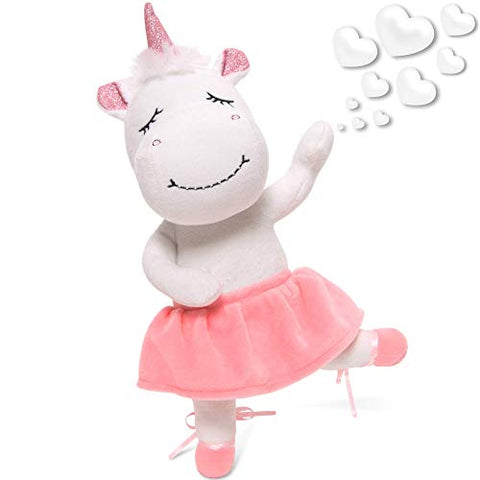 "Unicorn Stuffed Animal for Girls - Cute Posable Ballerina Unicorn Gifts Large 14"" White & Pink Unicorn Plush Toy! Gift Packaged for Birthday, Valentines or Graduation w eBook Included-by Marvs Store."