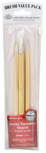 Royal & Langnickel Royal Zip N' Close White Bamboo 3-Piece Brush Set
