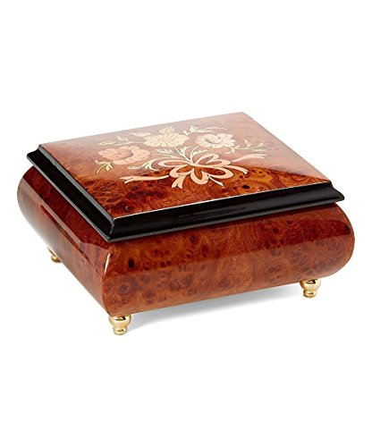 Floral bouquet Italian inlaid musical jewelry box with customizable tune options