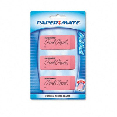 Paper Mate : Pink Pearl Eraser, Large, Three per Pack -:- Sold as 2 Packs of - 3 - / - Total of 6