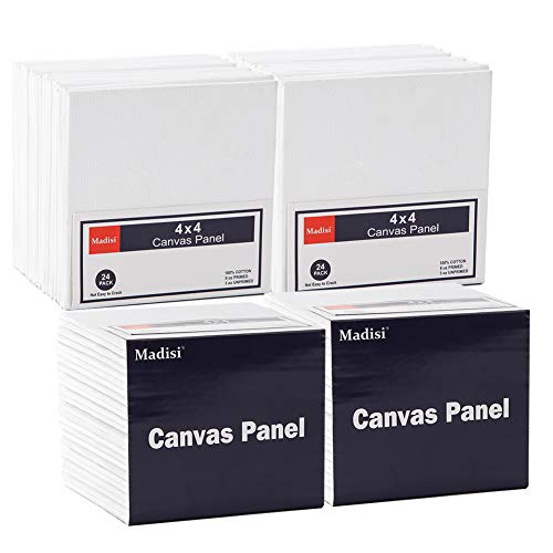 Madisi Painting Canvas Panels 96 Pack, 4X4, Classpack Paint Canvas