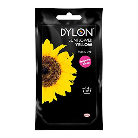Dylon Premium Hand Fabric Tie Dye used Worldwide by Best Designers, Multi-Purpose, Suitable for Small Natural Fabrics, Permanent and Easy to Apply, Color: Sunflower Yellow, Size: 1.76 oz (50 grams)