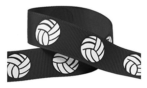 "Volleyball Ribbon for Crafts - HipGirl 7/8"" Volleyball Grosgrain Ribbon for Cheer Bows, Team"