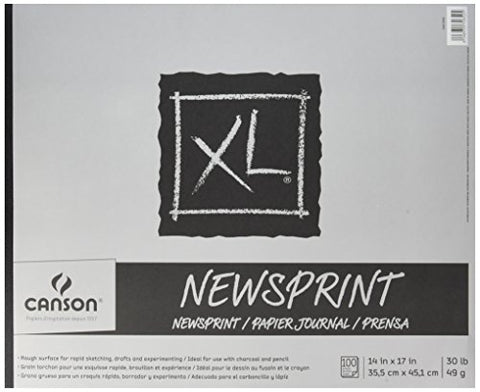 Canson XL Series Newsprint Paper Pad, for Charcoal and Pencil, Fold Over, 30 Pound, 14 x 17 Inch,
