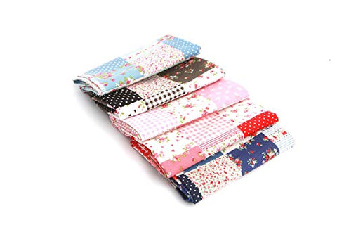 "RayLineDo 5X Different Pattern Floral & Polka Dots Style 100% Cotton Poplin Fabric Fat Quarter Bundle 46 x 56cm (Appox 18"" x 22"") Patchwork Quilting Fabric"