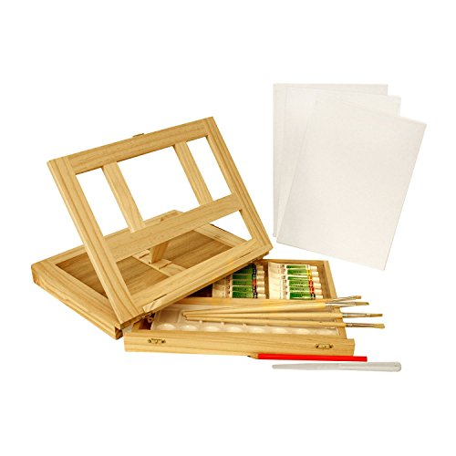 US Art Supply Wood Easel Box Set with 12 Colors, Canvas, 2-Brushes, Plastic Palette & Palette