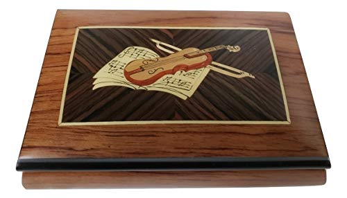 Italian inlaid musical jewelry box with instruments in elegant matte finish with customizable