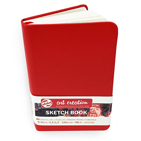 Royal Talens – Art Creation Hardback Sketchbook – 80 Sheets – 140gsm – 9 x 14cm – Red Cover