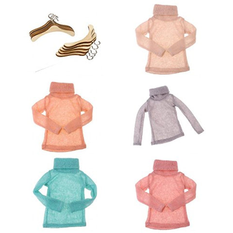 MagiDeal 10pcs Wooden Hanger & 5pcs Turtleneck Knitted Sweater for 1/3 BJD Doll