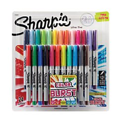 Sharpie(R) Color Burst Permanent Markers, Ultra-Fine Point, Assorted Colors, Pack Of 24