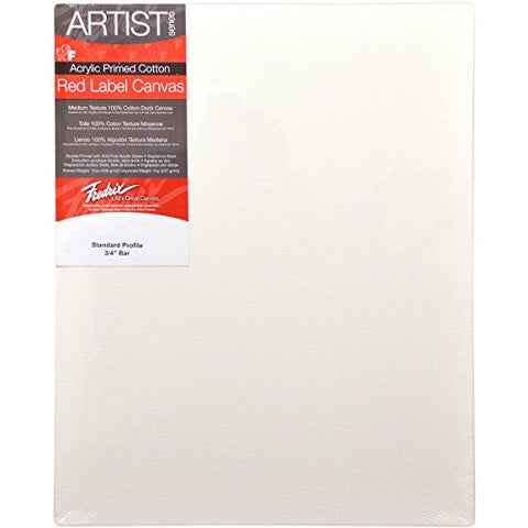 Fredrix 5020 Red Label Stretched Canvas, 14 By 18 Inches, White, 1 Piece