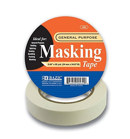 "BAZIC 0.94"" X 2160"" (60 Yards) General Purpose Masking Tape, Case Pack 36"