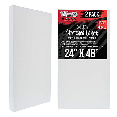 "U.S. Art Supply 24"" x 48"" Gallery Depth 1-1/2"" Profile Stretched Canvas 2-Pack - Acrylic Gesso Triple Primed 12-Ounce 100% Cotton Acid-Free Back Stapled Pouring Art"