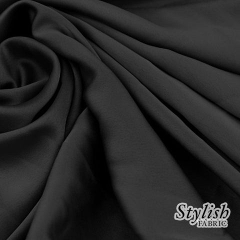 "58"" Black Crepe Back Satin Fabric by the Bolt- 25 Yards"