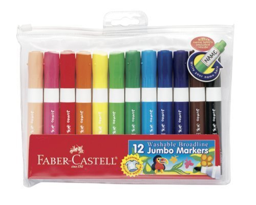 Faber and Castell 12 Count Washable Broadline Jumbo Markers by Faber Castell