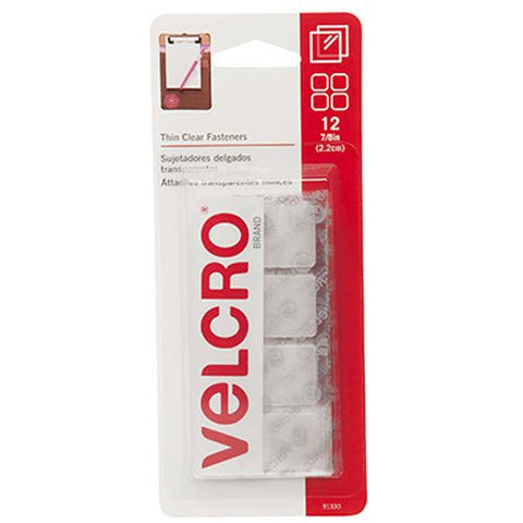 VELCRO Brand - Thin Clear Fasteners | Perfect for Home or Office | 7/8in Squares | Pack of 12