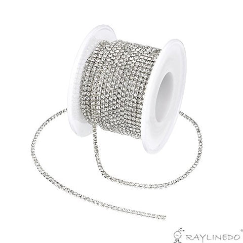 RayLineDo? 3A Class 4mm Clear Rhinestone Diamante Silver Plated Chain 10 Yard Lenght for Wedding