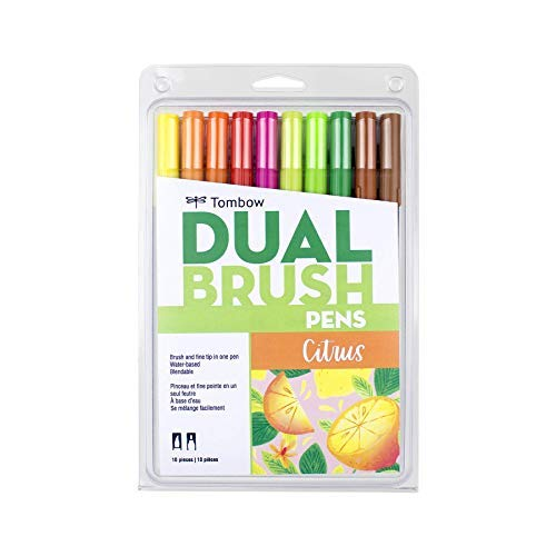 Tombow 56196 Dual Brush Pen Art Markers, Citrus, 10-Pack. Blendable, Brush and Fine Tip Markers
