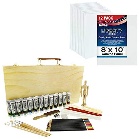 "U.S. Art Supply 50-Piece Acrylic Painting Set with 12 Pack of 8 X 10"" Professional Artist Quality Canvas Panels, 24 Acrylic Colors, Colored Pencils, Graphite Pencils, Brushes, 5.5"" Manikin"