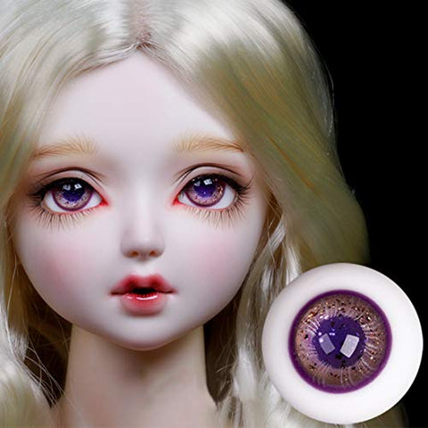 HMANE BJD Dolls Eyes, 16mm Glass Brilliant Purple Eyeball for 1/3 1/4 BJD Dolls (No Doll)