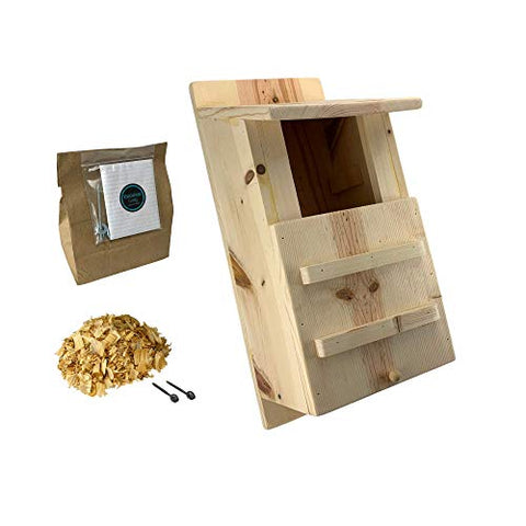 KingWood Premium Pine Owl House, Large Owl Box, Large Bird House, Owl House Box For Nesting