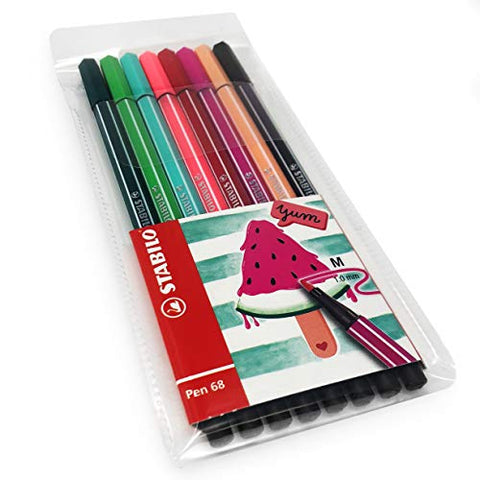 STABILO Pen 68 Fibre Tip Fineliner - 1.0mm - Watermelon Set - Wallet of 8 Assorted Colours