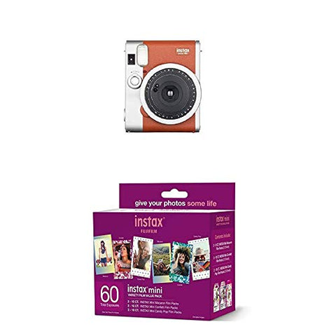 Fujifilm Instax Mini 90 Instant Film Camera (Brown) + w/60-pack