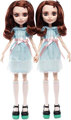 Monster High The Shining Grady Twins Collector Doll 2-Pack, 2 Collectible Dolls (10-inch) in Fashions and Film-Inspired Accessories, with Doll Stands, Multicolor, GNP21