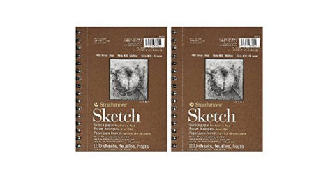 Strathmore 455800 60-Pound 100-Sheet Strathmore Sketch Paper Pad, 5.5 by 8.5-Inch (2-PACK)