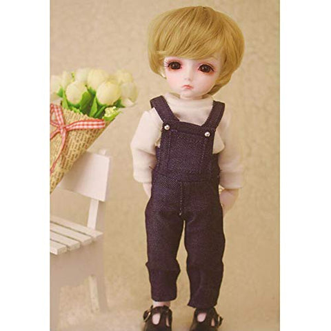 YILIAN BJD Doll Clothes Daily Leisure Denim Bib + White Shirt for 1/4 SD BJD Dolls